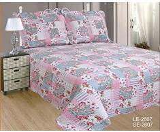 ForenTex- Colcha bouti reversible, (LE-2607), cama 150 cm, 240 x 260 cm, Estampada cosida, Rosas, + 2 fundas cojines, colcha barata, set de cama, ropa de cama. Por cada 2 colchas o mantas paga solo un envío (o colcha y manta),