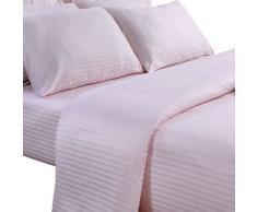 Homescapes Sábana bajera ajustable con rayas de satén de 150 x 200 cm y 25 cm de profundidad color Rosa en 100% Algodón Egipcio con una densidad de 130 hilos/cm²