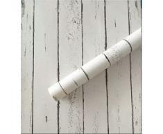 Papel tapiz impermeable de pvc auto-adhesivo de pared Cocina Baño Dormitorio 0.45*10m, 10 de color plateado-blanco de grano de madera, extra grande