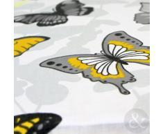 Just Contempo - Juego de Funda nórdica y Funda de Almohada (algodón), diseño de Mariposas, Mezcla de algodón, Yellow (Grey White), Funda de edredón Doble King Size