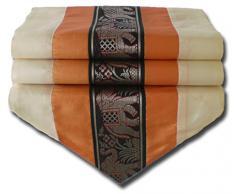 by soljo - naranja mesa de mantel de lino camino de mesa corredor seda tailandesa elefante Elegante 150 cm de largo x 30 cm