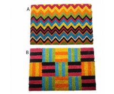 Felpudo fibra coco/ goma, formas geométricas colores (60x40) 2 modelos - B