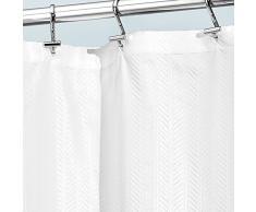 InterDesign Seersucker - Cortina a rayas para cubículo de ducha, 183 x 183 cm, color blanco