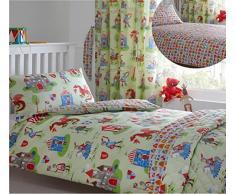 Kidz Club – Juego de funda nórdica para cama infantil de caballeros y dragones Medieval temática de edredón y funda de almohada, color verde