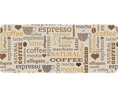 ID MAT 50120 Café Latte – Alfombrilla de cocina de fibra de poliamida y PVC (120 x 50 x 0,4 cm), color beige