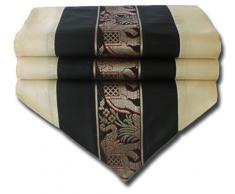 by soljo - negro mesa de mantel de lino camino de mesa corredor seda tailandesa elefante Elegante 150 cm de largo x 30 cm