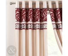 Just Contempo - Cortinas con forro y ojales (seda sintética y chenilla), diseño de rayas, par de cortinas 2,29 x 1,83 m ( extra ancho bedroom, rojo, beige