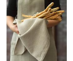 Paños de cocina Lara de lino natural. Juego de 2. LinenMe 42 x 70 cm.