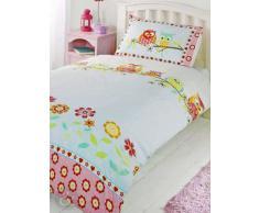 Set de sábanas para niños (algodón), mezcla de algodón, Búhos - rojo, azul, amarillo y verde, funda nórdica para cama doble (diseño infantil)