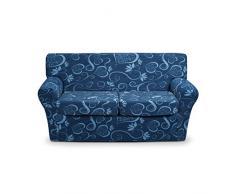 Cubre sofá elástico con diseño de corazones, medida máxima 120 cm- AZUL L672