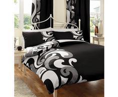 Juego de funda nórdica y funda de almohada, de algodón, diseño moderno y contemporáneo, mezcla de algodón, negro, cama individual (single)