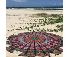 UrbanCharm Indian Meroon - Mantel redondo de algodón, toalla de playa, estampado de plumas de pavo real, estilo hippy bohemio