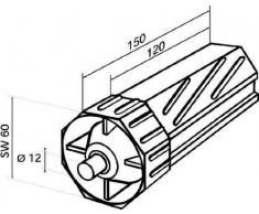 Rademacher 4030 - Cápsula de plástico para persianas Sw60 (diámetro del eje: 12 mm, largo: 120 mm)
