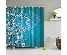 minuya Mei de flor Chinoiserie verdes hojas colores ducha cortinas verdicken antimoho de familia de textiles para cuarto de baño hogar Casa Cortina de ducha Style 1