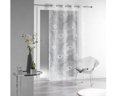 DOUCEUR DINTERIEUR Douceur d Interieur 140 x 240 cm, diseño de flores, Organza Devore solia Anillos de cortina, Blanc White