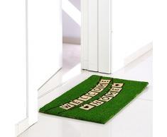 Felpudo original verde de fibra de coco para la entrada Arco Iris 70x35cm WELCOME