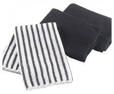 Ligne Decor 40 x 40 cm 3 piezas 2 proceso de teñido y satinado 1 diseño a rayas Cuistot de microfibra paños de cocina, negro antracita