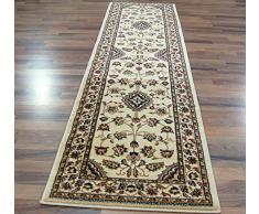 Extra grande clásico estilo persa Oriental tradicional Floral alfombra/alfombrilla, Beige - 67 x 300 cm