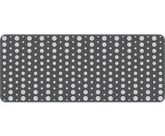 ID mate 5012002 puntos-Alfombrilla de cocina poliéster y fibra, poliamida y policloruro de vinilo, Gris, 120 x 50 x 0,4 cm