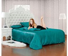 Luxe imitación seda 6 piezas, satén completo conjuntos De ropa De cama sábana bajera, funda De edredón doble & King Size 10 colores vivos, turquesa, Double