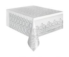 Mantel de plástico blanco de encaje, 9 pies x 4.5ft
