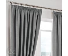 Just Contempo Herringbone Curtains - Cortinas lisas, poliéster, plateado, Curtain Pair 66 x 54 ( terracotta )