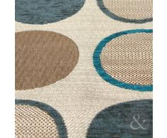 Just Contempo Funda para cojín (43 x 43 cm), diseño con círculos, poliéster, azul, beige, funda de cojín 43 x 43 cm