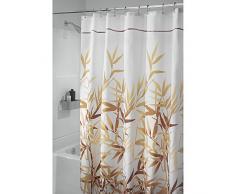 InterDesign Anzu Cortina de ducha | Cortina de baño lavable a máquina de 180 x 200 cm | Cortinas modernas con estampado floral para bañera o plato de ducha | Poliéster marrón