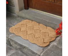 JVL 45 x 75 cm fibra de coco Natural hecha a mano interior y exterior alfombrilla de diseño con nudo cuerda para Puerta, marrón