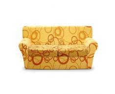 Cubre sofá elástico Joker 4 plazas con diseño de círculos, medida máxima 260 cm- AMARILLO L684