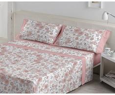 ES-TELA - Juego de sábanas estampadas ERICA color Malva (4 piezas) - Cama de 160 cm. - 50% Algodón/50% Poliéster - 144 Hilos