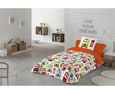 COTTON ART- Funda Nórdica Infantil IDUN Cama de 105 (180X260cm)+ 1 FUNDA DE ALMOHADA (45X120cm). ALGODÓN 100%. Disponible para cama de 90 y 105.