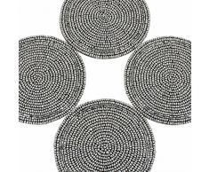 Posavasos de té plateado de cuentas mantel individual Decoración Indian Home, juego de cuatro