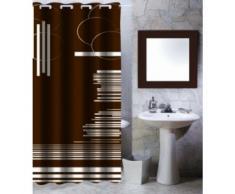MSV 140810 - Cortina de Ducha (poliéster y plástico, 180 x 200 x 0,1 cm), diseño de gráfico, Color marrón
