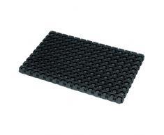 JVL Rondo – Anillo de goma resistente al aire libre alfombrilla de contrato puerta, 50 x 100 cm, negro