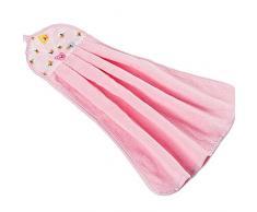 Ularma Dibujos animados coloridos gruesa colgante paño suave felpa trapos de cocina toalla de mano (rosa)