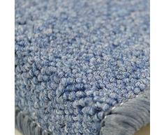Beautissu Set 15 Alfombras pequeñas semicirculares ProStair escalera - 55x15 cm - Gris azulado - perfecto ribeteado