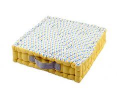 Esprit Dick Cojín de suelo de algodón con triángulos amarillos, 45 cm