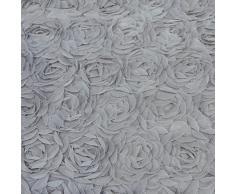Just Contempo Juego de funda nórdica y dos fundas de almohada, diseño con apliques florales, color rosa, mezcla de algodón, gris, matrimonio