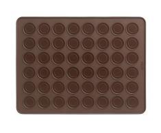Lékué 0231440M02 - Tapete de silicona para hacer macarons en el horno, color marrón