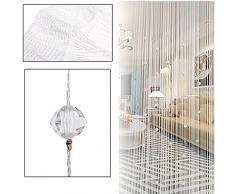 Gosear-Imitación cristal borla de la cortina de la secuencia de cuentas para Puerta ventana Casa Decor divisor(1 x 2M,Blanco)
