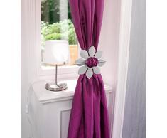 Ruco V523 - Pasadores para cortinas con diseño de girasol, 2 unidades, color plateado