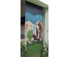 El Afortunado de perros de bambú Puerta cortina de bambú cortina puerta cortina aproximadamente 90 x 200 cm