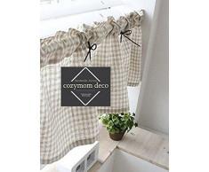 Cortina de algodón hecha a mano, para cocina, estilo Rural, una pieza de 30 (ancho) x 135 (largo) cm