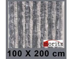 Moritz Cortina de tejido tipo chenille, mosquitera, 100 x 200 cm, 24 hilos