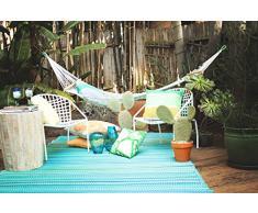 Fab Hab - Cancun - Alfombra para Exterior e Interior - Turquesa y Verde Musgo - (90 cm x 150 cm)