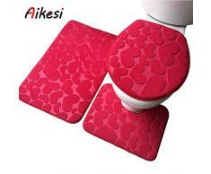 Aikesi juego de 3 Alfombra de baño Alfombra de tocador Alfombrilla de pies Funda de asiento de inodoro Conjunto, Franela de color sólido,Absorbente,Suave,Haz la vida más cómoda