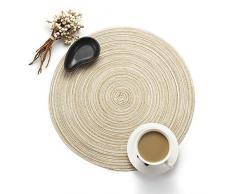Manteles individuales y posavasos de mesa de comedor de PVC de Western Dining (forma de furgoneta), Milk Coffee, redondo