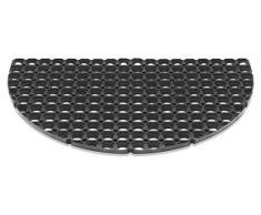 Felpudo DOMINO extremadamente robusto de 100% caucho 50 x 80 cm. Para uso exterior. 23 mm. Forma de media luna. Resistente a las heladas. De color negro.