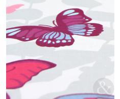 Just Contempo Juego de Funda Nórdica y Funda de Almohada (Algodón), Diseño de Mariposas, Mezcla de Algodón, Pink (White Purple Teal), Funda de Edredón Doble King Size